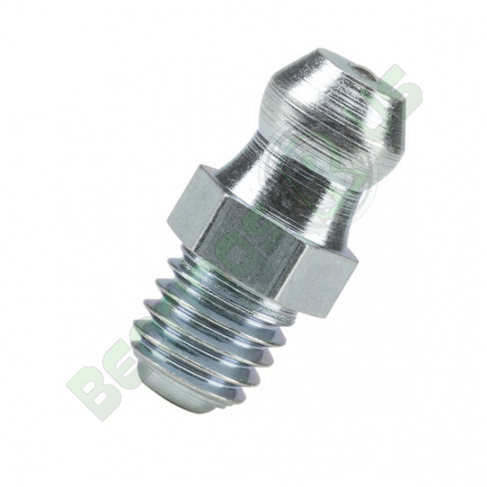 M8x1 Mild Steel Zinc Plated Straight Hydraulic Grease Nipple (Pack of 10)