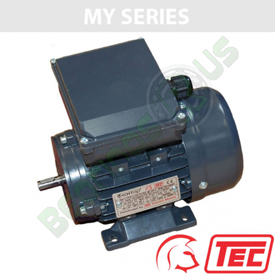 TEC MY Series Single Phase 240v 0.75kw 1340rpm (4Pole) 802-4 Frame B3 Foot Mounted Electric Motor