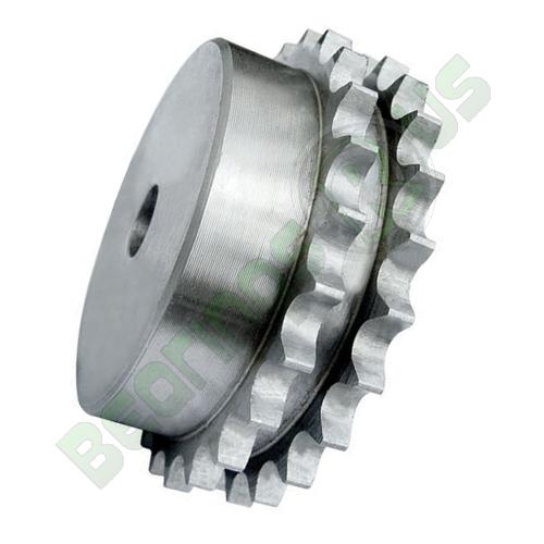 "3DR22 (06B2-22) 3/8"" Pitch Steel Pilot Bore Duplex Sprocket"