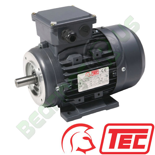 TEC IE2 Rated 3 Phase 0.75kw 2840rpm (2Pole) D80 (802-2) Frame B34 Foot & Face Mounted Electric Motor