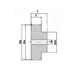 Metric Timing Belt Pulley Diagram - No Flanges
