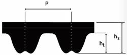 1000-8M-20 Timing Belt Cross Section