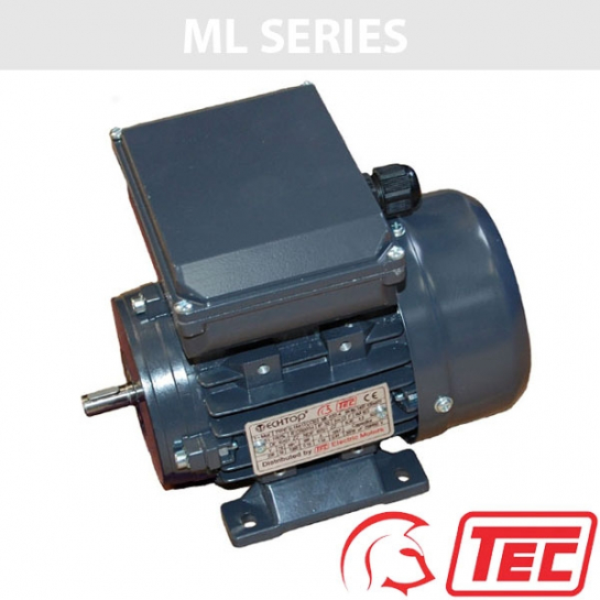 TEC ML Series Single Phase 240v 0.25kw 1380rpm (4Pole) 711-4 Frame B3 Foot Mounted Electric Motor