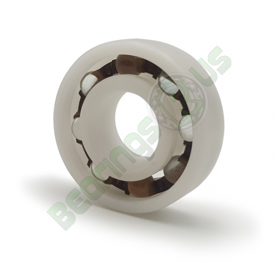 P6200-GB Plastic Open Deep Groove Ball Bearing with Glass Balls 10x30x9mm