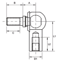 Female Rod End With Male Stud Diagram