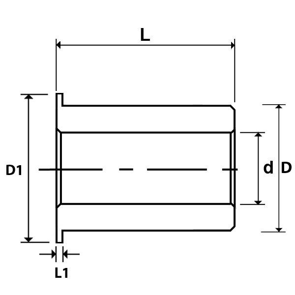 Flanged Oilite Bush Diagram